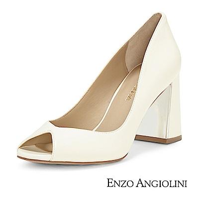 ENZO ANGIOLINI--V型魚口金屬粗跟高跟鞋-迷人白