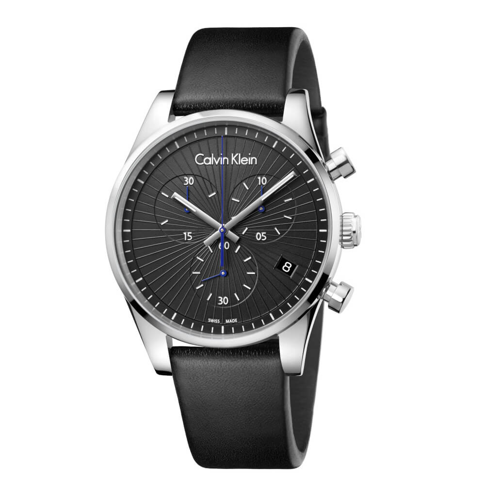 CK CALVIN KLEIN Steadfast 堅定系列太陽紋黑面計時手錶-40mm
