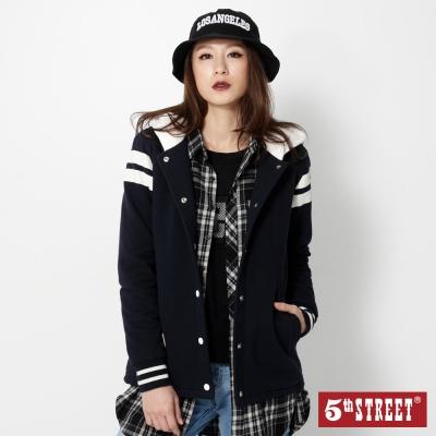 5th-STREET-學院風格毛裡針織連帽拉T-女-丈青