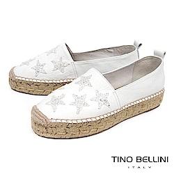 Tino Bellini 西班牙進口閃耀星芒厚底麻編休閒鞋_ 白