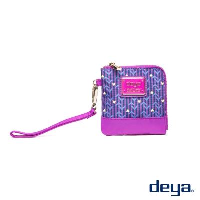 deya 幾何派對 防潑水隨身零錢包  紫玫瑰