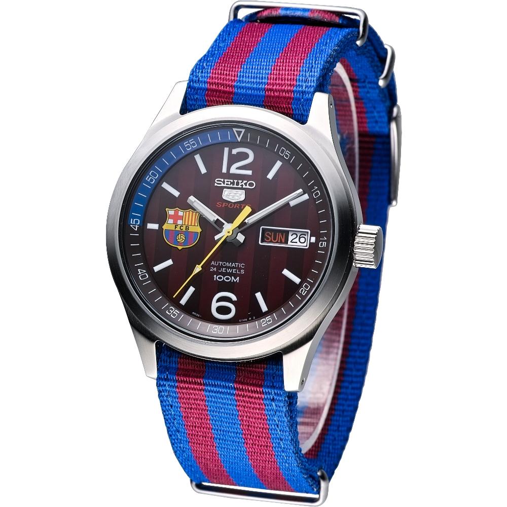 SEIKO FC Barcelona 巴塞隆納5號機械腕錶(SRP305K1)-咖啡紅/39mm