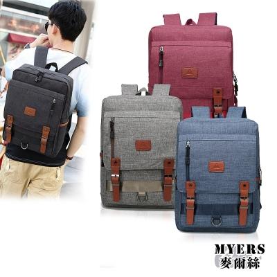 MYERS 14.4吋 OPPS磁扣皮革  大容量雙拉鍊 平板筆電後背包