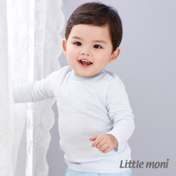 Little moni 純棉家居系列條紋上衣 粉紫藍