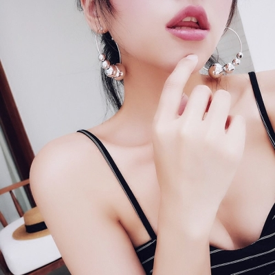 梨花HaNA 韓國時尚跨界銀球大圈耳環