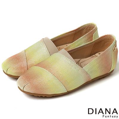 DIANA 超厚切香水粉撲款--雙色漸層個性樂福鞋-橘x黃