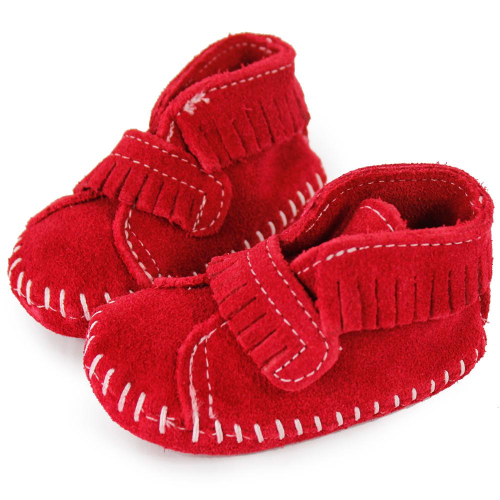 MINNETONKA 紅色一體成形流蘇麂皮莫卡辛 嬰兒鞋 (展示品)