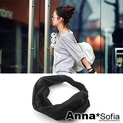 AnnaSofia-韓版運動風-棉質寬髮帶-酷黑