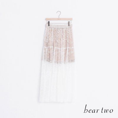 beartwo-短版內襯蕾絲波浪長裙-二色