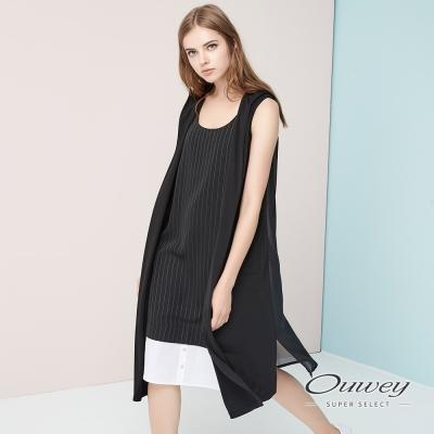 OUWEY歐薇 簡約質感連帽長版罩衫(黑)-動態show