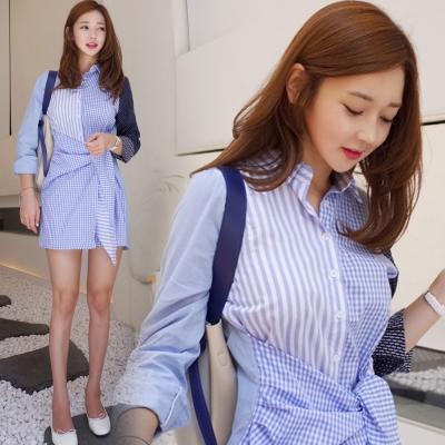 正韓-拼接感排釦襯領綁帶造型洋裝-圖片色-Pink