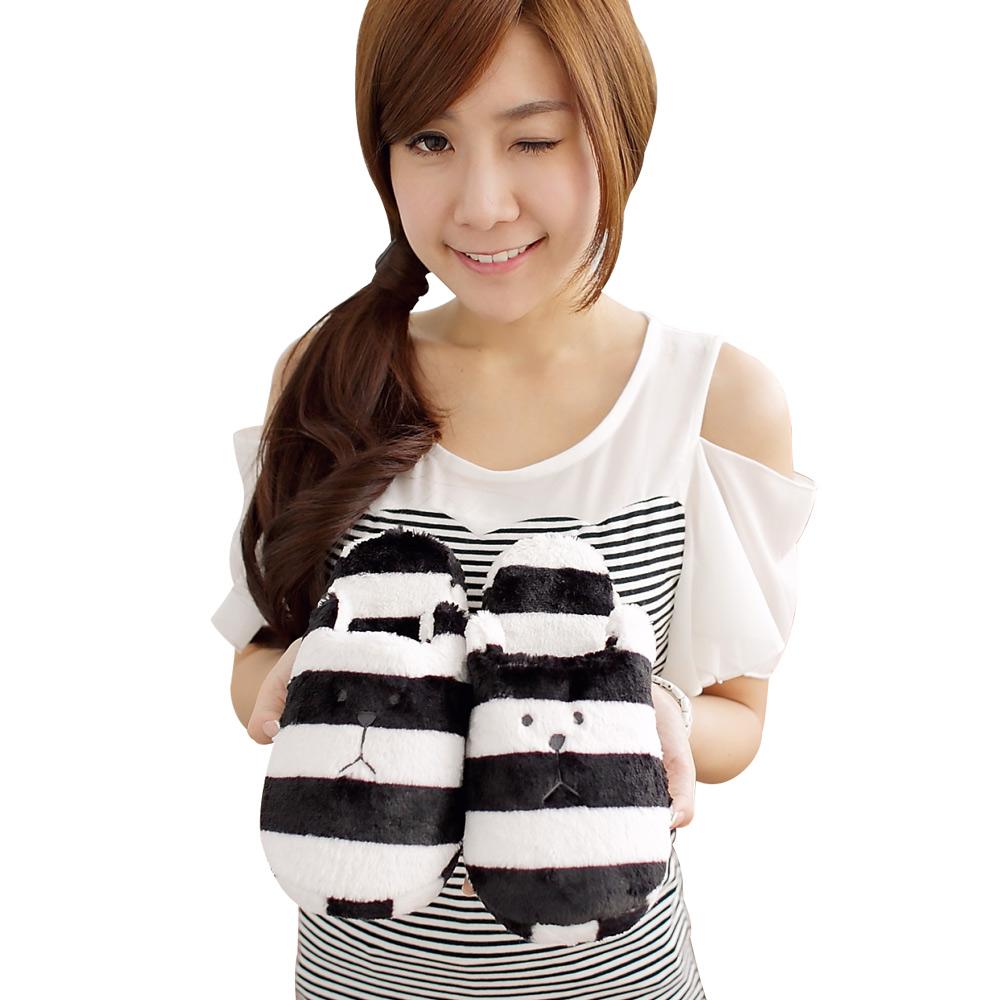 YOYOGO CRAFTHOLIC 黑白條紋熊室內拖鞋(加大)