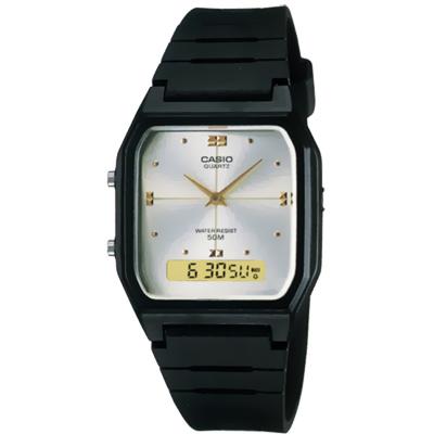 CASIO 潮流復古雙顯指針錶(AW-48HE-7)-白