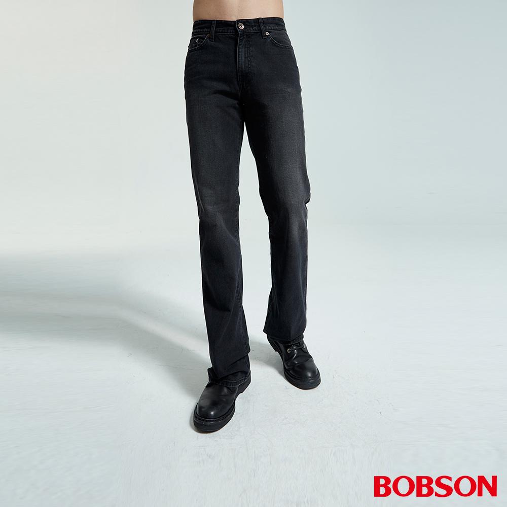 BOBSON 男款黑色刷白喇叭褲