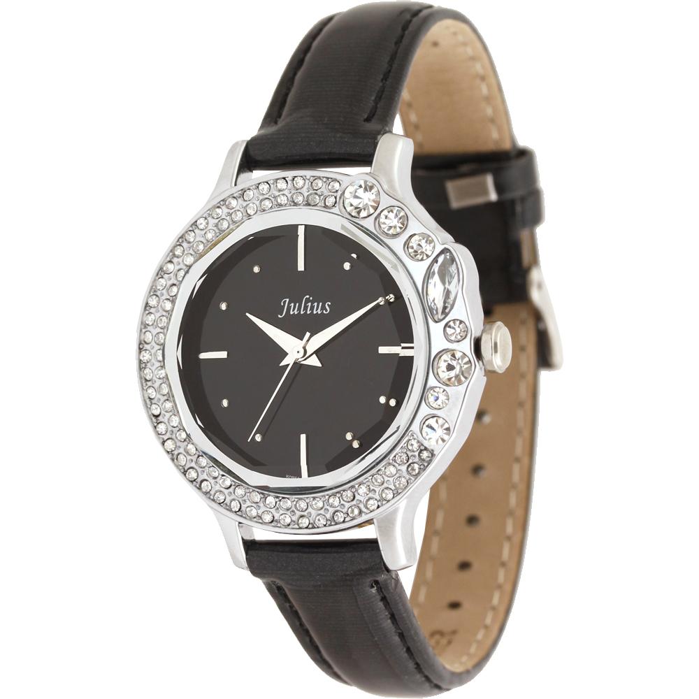 JULIUS聚利時 蜜亞公主滿鑽立體鏡面皮帶腕錶-黑x黑面/36mm