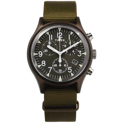 TIMEX 天美時 INDIGLO專利冷光照明 三眼計時 日期 帆布手錶-橄欖綠/40mm