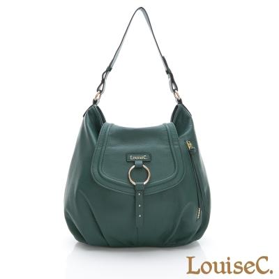 LouiseC. 義大利牛皮帥氣優雅後背包-墨綠色-04C01-0057A08