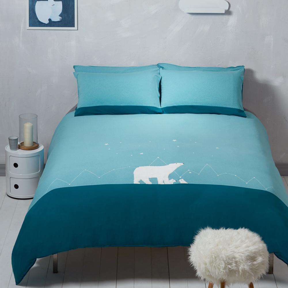 Yvonne Collection 北極熊加大三件式被套組 淺藍綠
