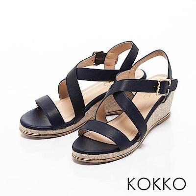 KOKKO-溫柔海風交叉帶真皮楔型涼鞋-深夜藍
