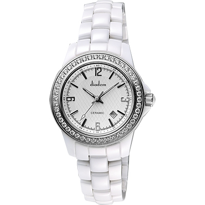 Diadem 黛亞登 菱格紋晶鑽陶瓷腕錶-銀x白/35mm
