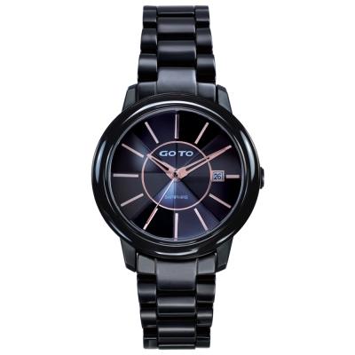GOTO 冒險輕盈時尚腕錶-IP黑x玫/34mm