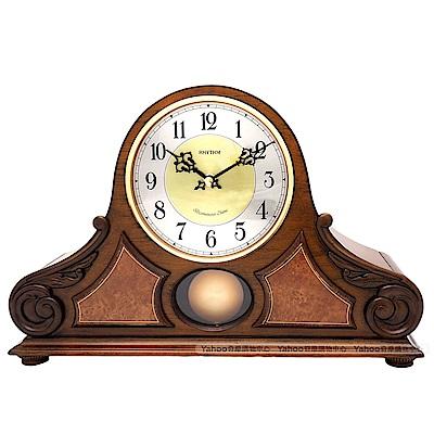 RHYTHM 麗聲 古典實木擺錘整點報時座鐘/38cm