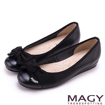 MAGY 甜美混搭新風貌 蝴蝶結水鑽牛皮娃娃鞋-黑色