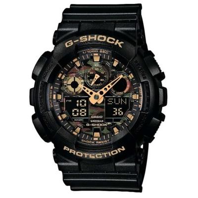 G-SHOCK 超人氣新叢林迷彩軍事戰魂雙顯錶(GA-100CF-1A9)-52mm