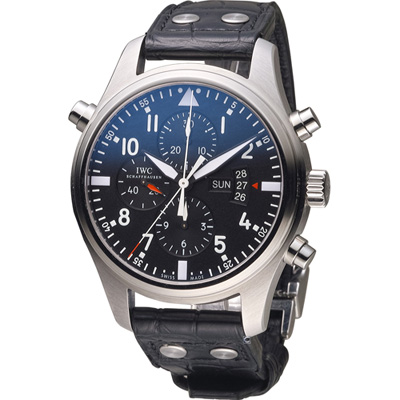 IWC 萬國錶 飛行員系列 自動機械追針計時腕錶(IW 377801 )-黑/ 46 mm