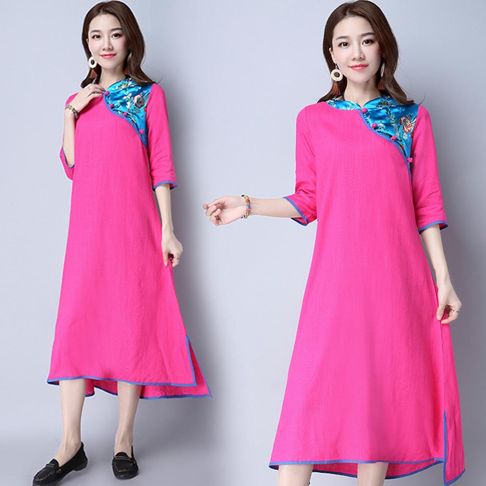簡約寬鬆五分袖繡花連衣裙-紅色(M/L可選)   NUMI 森