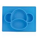 Nuby 動物矽膠餐盤-猴子藍(6M+)