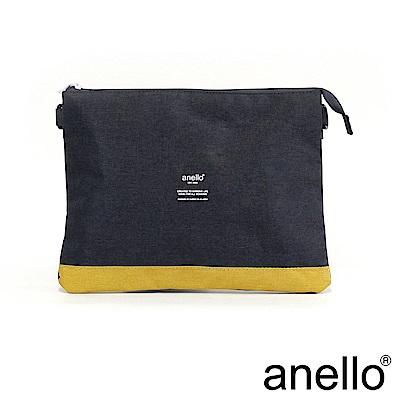 anello 高雅混色紋理機能型輕便兩用包 深藍x黃色