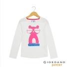 GIORDANO 童裝 可愛印花純棉長袖T恤- 42 皎雪白