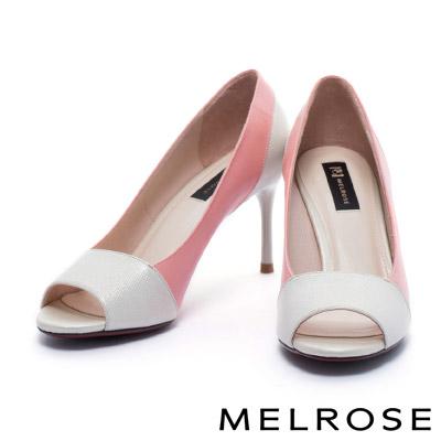 高跟鞋 MELROSE 時尚魅力異材質拼接撞色魚口高跟鞋-粉