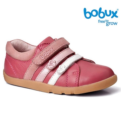Bobux 紐西蘭 i walk 童鞋學步鞋 亮粉色經典小花運動鞋