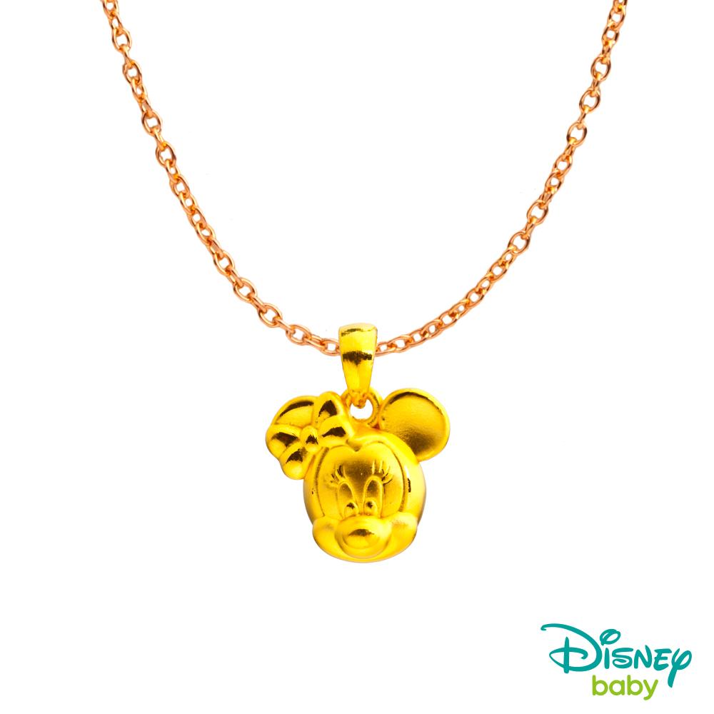 Disney迪士尼系列金飾 黃金墜子-微笑美妮款 送項鍊