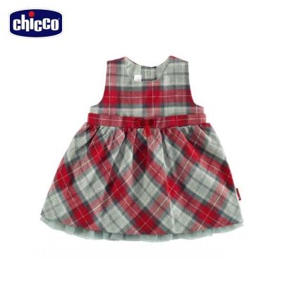 chicco英倫格紋背心洋裝 -紅(12個月-18個月)