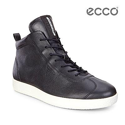 ECCO SOFT 1 MEN'S 簡約高筒輕巧休閒鞋-黑
