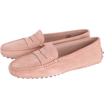 TOD'S Gommino Driving 麂皮絨豆豆休閒鞋(粉裸色)