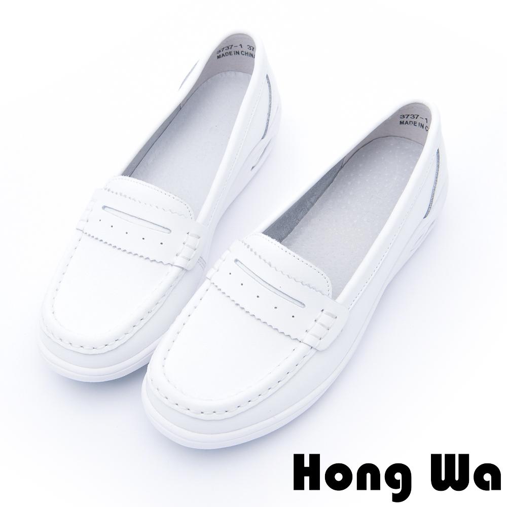 Hong Wa - 運動風牛皮柔軟氣墊樂福鞋 - 白