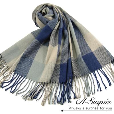 A-Surpriz-典雅英倫方格寬版仿羊絨披肩圍巾-藍米格