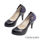 TWshoes氣質高雅後跟蕾絲花邊高跟鞋-黑【SBY88-1】