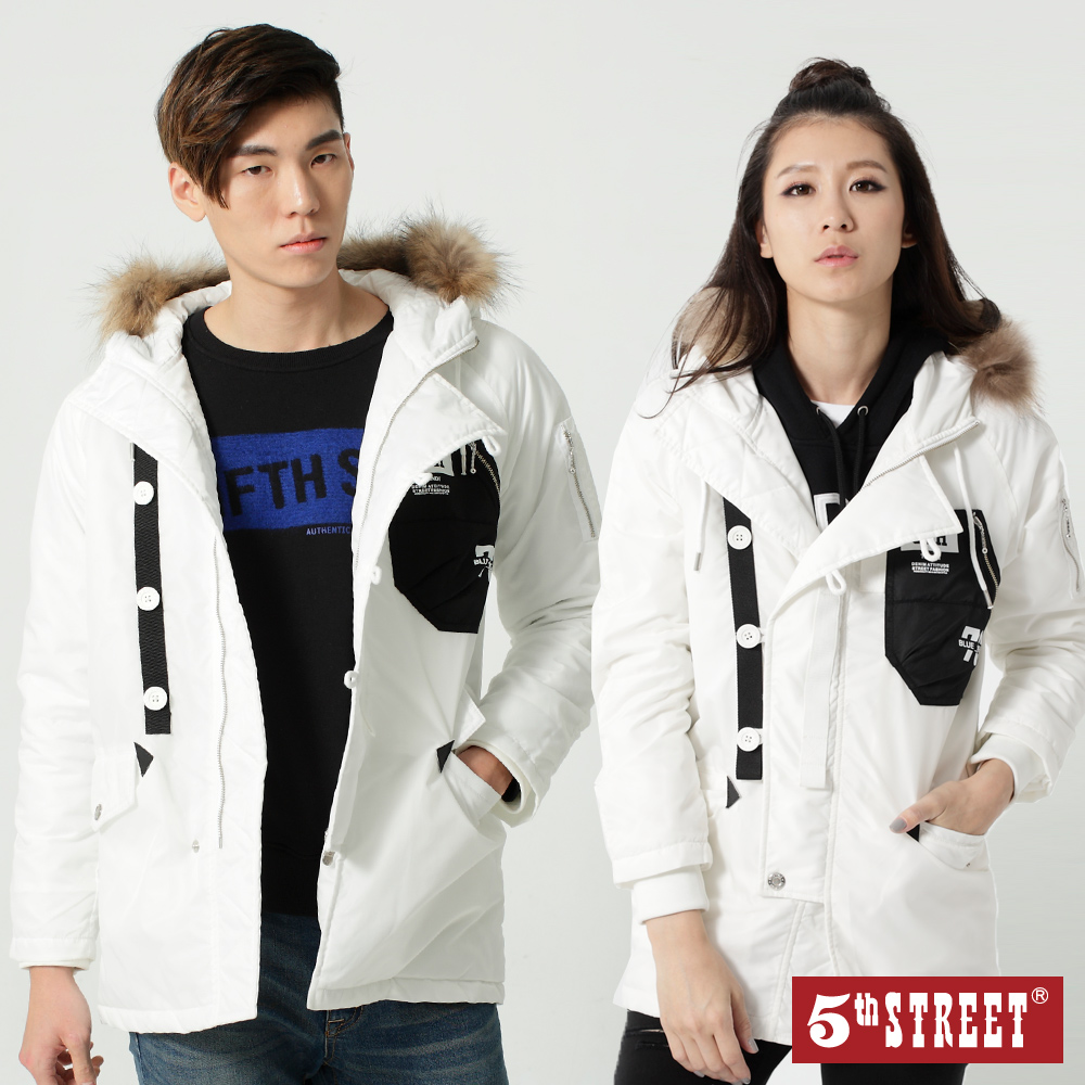 5th STREET 貼袋舖棉長版外套-中性-白色
