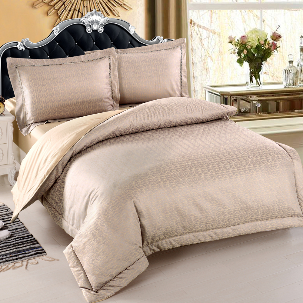 HOYACASA萊恩 雙人四件式絲棉緹花兩用被床包組