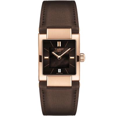 TISSOT 天梭 T02 時尚女錶-珍珠貝x咖啡/23mm