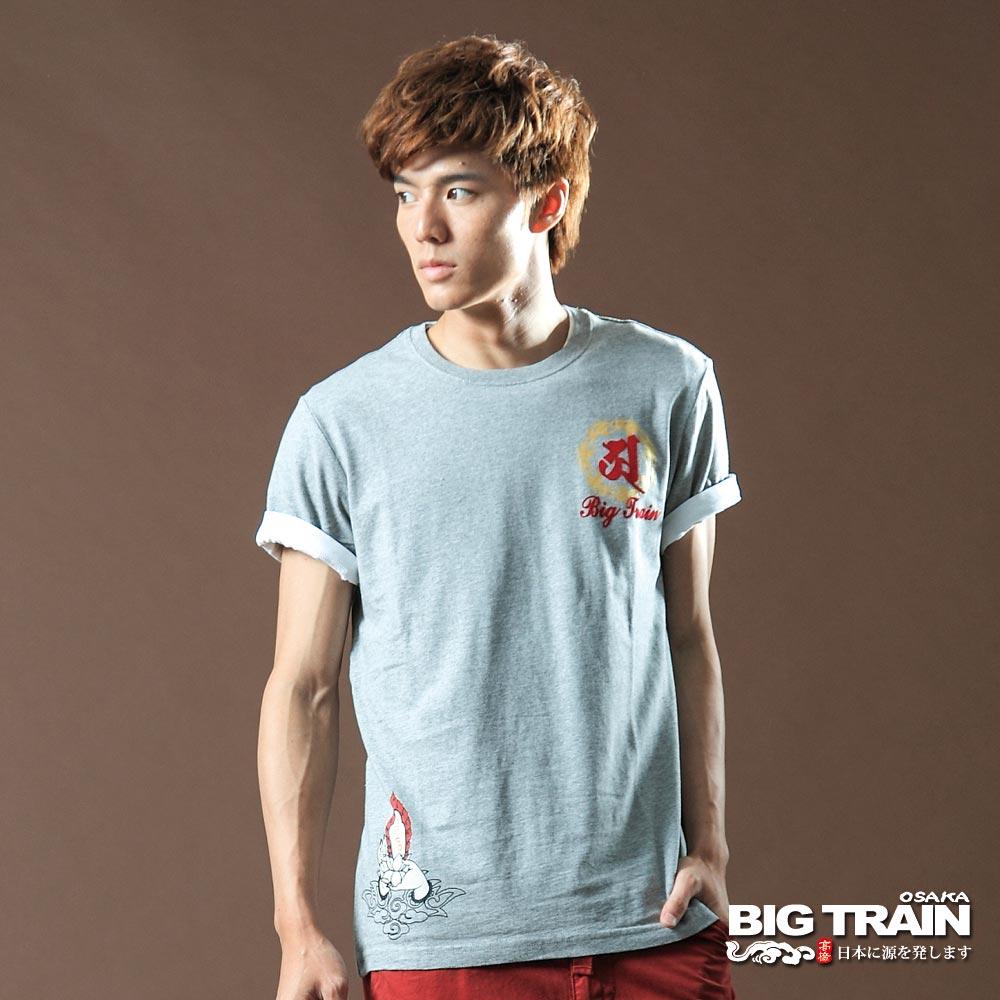 BIG TRAIN-佛光普照圓領T恤-麻灰