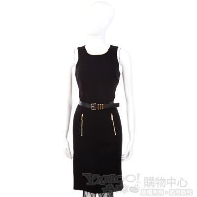 MICHAEL Michael Kors 黑色金屬項圈飾無袖洋裝(附腰帶)