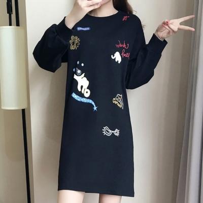 中大尺碼 大象英文字愛心卡通繡線貼布連身洋裝XL~4L-Ballet Dolly