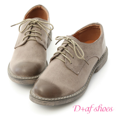 D+AF 懷舊主義.復古感刷色綁帶馬汀鞋*灰