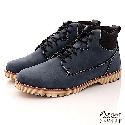 LUXPLAY男款  經典 潮男 半筒 休閒鞋~WK256藍